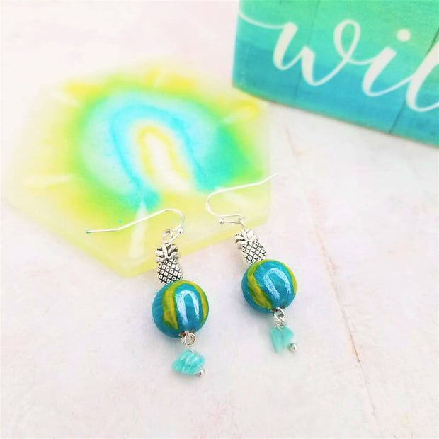 Hand-Painted Blue Rainbow Earrings