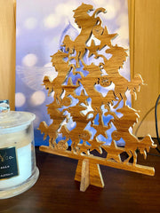 Horse Christmas Tree - Wooden Table top tree