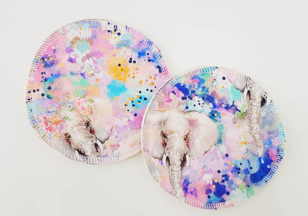 Watercolour Elephants WATER RESISTANT Breastfeeding/nursing pads