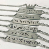 Hand Stamped Bar Pendant Necklace