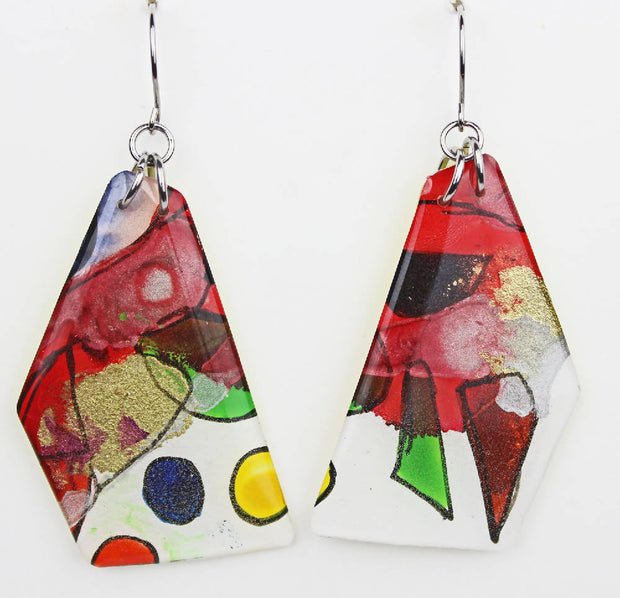 HAND PAINTED EARRINGS ABSTRACT - 568