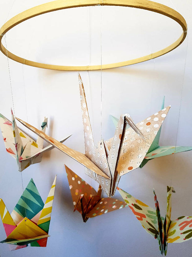 Origami Crane Hooped Mobile