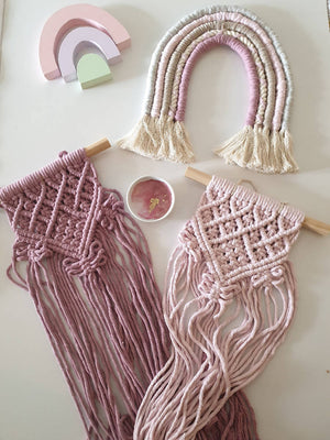 Dusty Rose Macrame Wallhanging