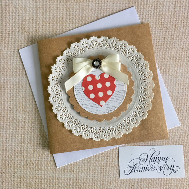 Anniversary card with red polka dot heart