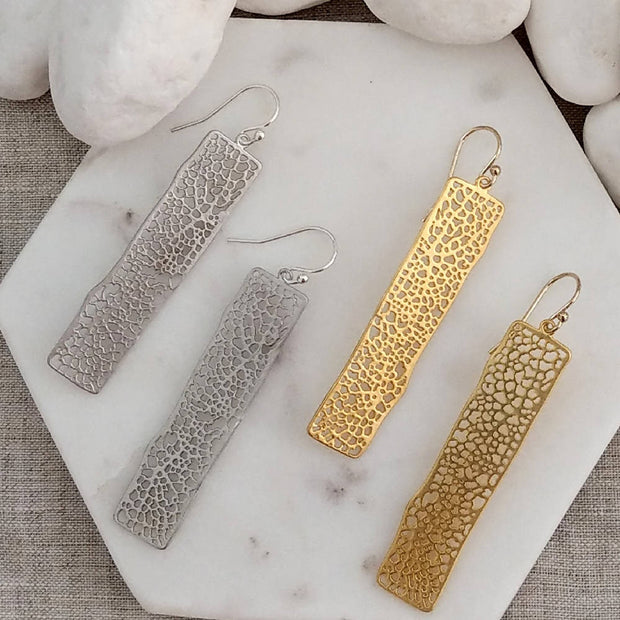 Rectangle long drop Earring