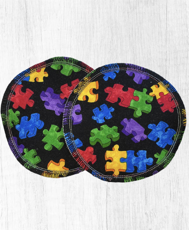 Reusable Breast Pads / Nursing Pads, Set of 5 ~ Puzzled Black