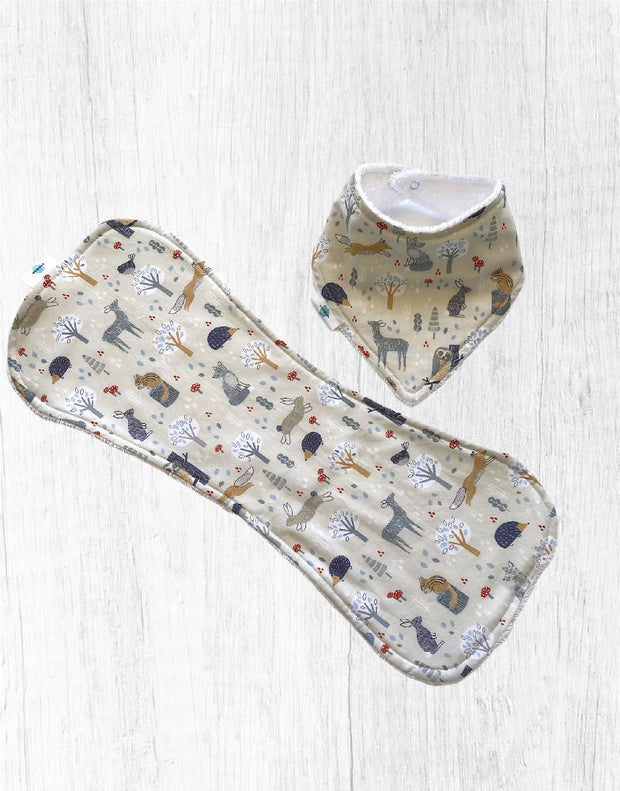 Burp Cloth and Bib Set - Forest