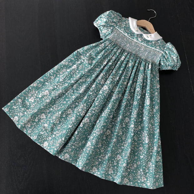 Smocked Dress - green floral - size 4 - one of a kind