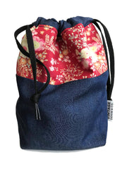 SALE -- Vintage Red Floral Bag