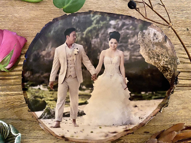 Wood slice personalised, Silver Birch, Anniversary photo gift, Custom Photo block, anniversary present, photo block, Valentine's Day, For Her