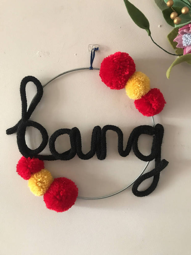 Superhero Wire word BANG hoop art