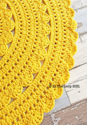 80cm Yellow Crochet Floor Rug
