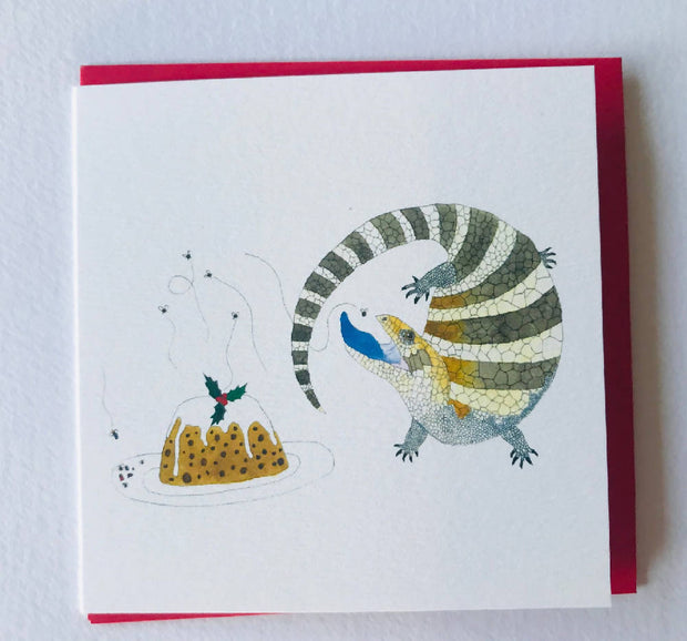 Small Christmas card - blue tongue and pudding