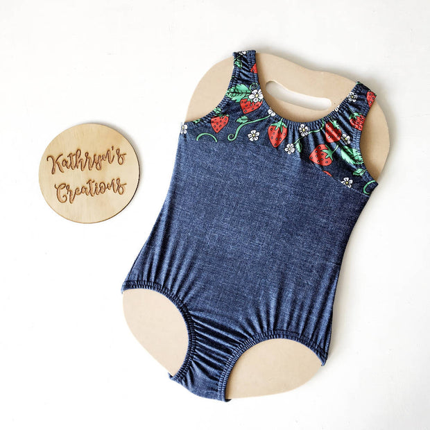 Strawberry Denim Basic Leotard/Swimsuit