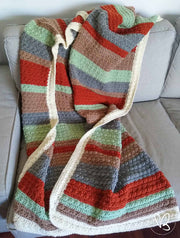 Beautiful Winter Random Stripes Crochet Blanket