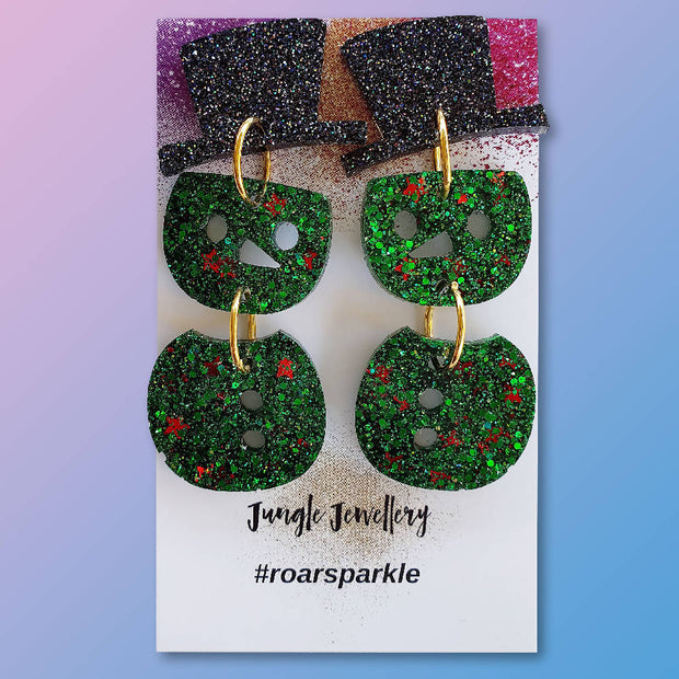 Snowman Drop Earrings - Green and Red