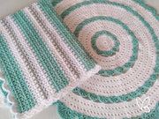 Teal and White Ready Made Crochet Floor Rug