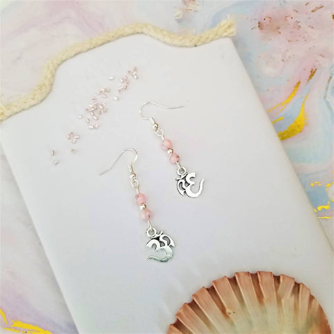 Pink Omh Charm Earrings