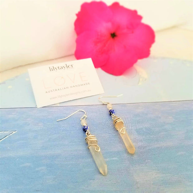 Blue Quartz Crystal Earrings
