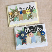 Thanks card with banners and flowers, 2 pack