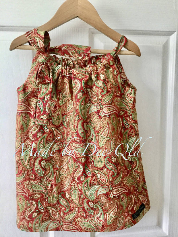 METALLIC PAISLEY | CHRISTMAS TUNIC TOP | SIZE 4 -5