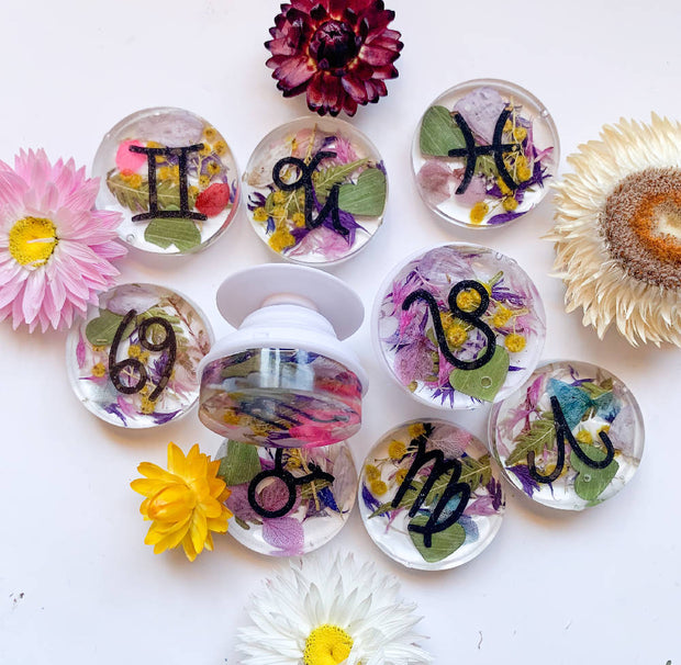 Zodiac Sign Floral Phone Grips