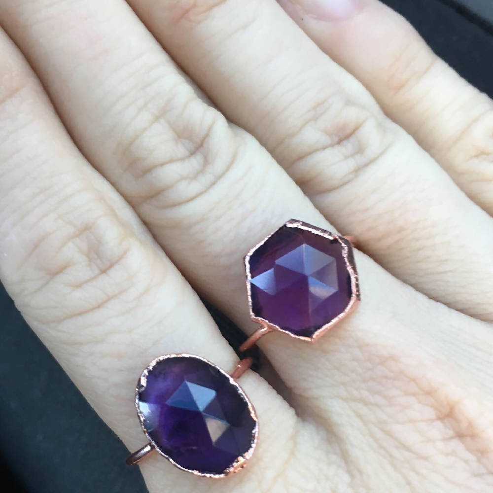 Faceted Amethyst Ring - Size 6.75