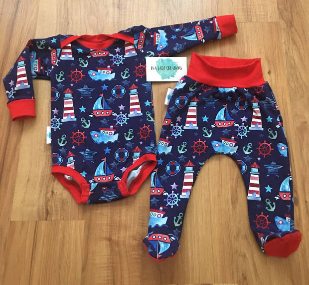 Baby Bodysuit/Onesie with Footed Pants Set, Boy and Girls Nautical theme