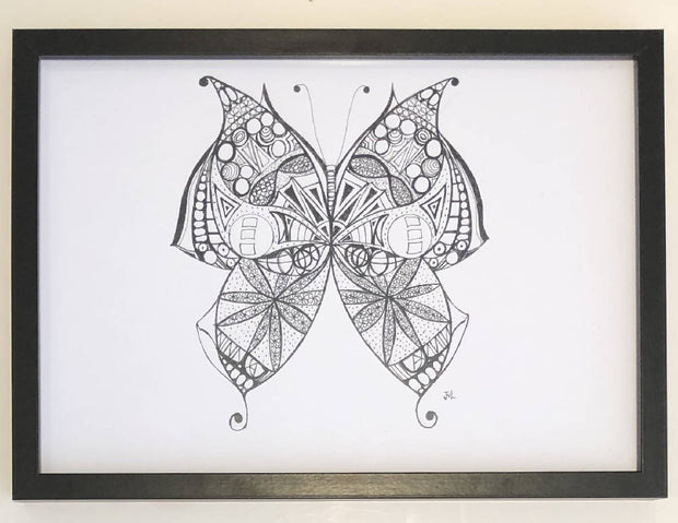 Mandala Butterfly - Black & White Print