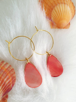 Coral Colour Carved Shell Mini Hoops