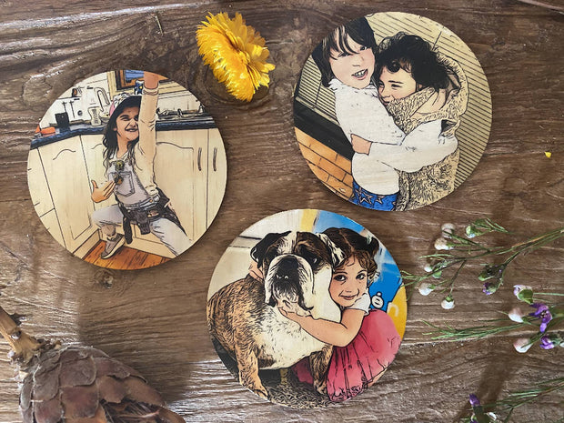Realistic Comic Magnets - Wooden Magnets, Comic Style Magnets, Personalised Magnets, Round Magnets, Christmas Gift, Kris Kringle Gifts