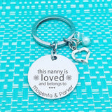 Mum & Grandparent Gifts - This Nanny Belongs To Personalised Name Keyring (dedicate it to a person of your choosing!)