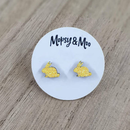 Hand-dipped Glitter Bunny Earrings