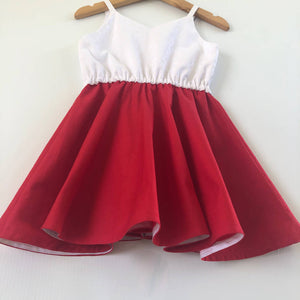 Red festive twirly dress