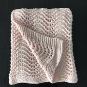 Hand-knitted wool baby pram blankets - feather&fan pattern - 5 colours