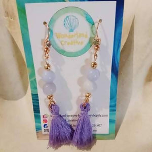 Rose Gold Blue Lace Agate Tassel Earrings