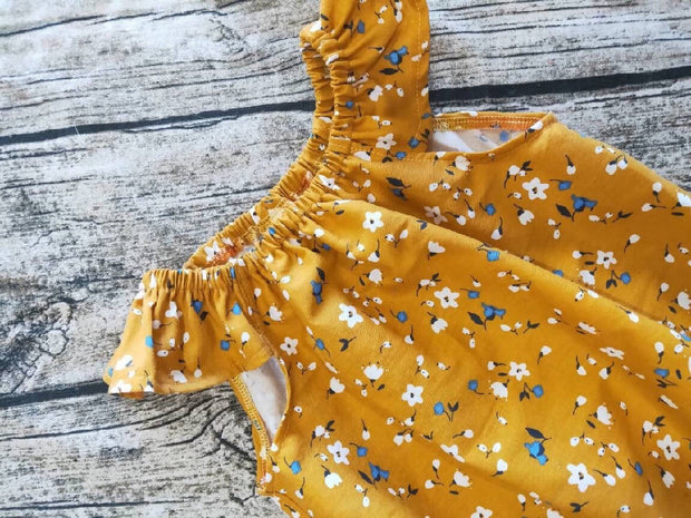 Mustard Floral Playsuit, Flutter Sleeves, Baby Shower Gift Newborn Outfit, Bubble Romper, Baby Clothes, Floral Sunsuit, Long Sleeve Rompe,