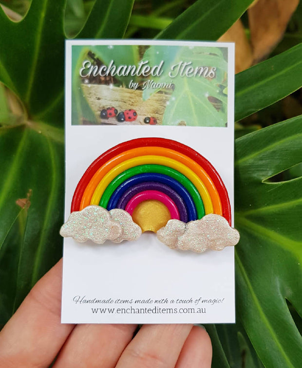 Rainbow and Clouds Brooch