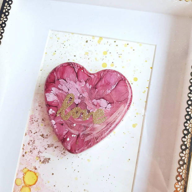 3D Resin heart on Alcohol Ink artwork in a glass frame