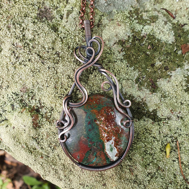 Chrysocolla Pendant in Recycled Copper