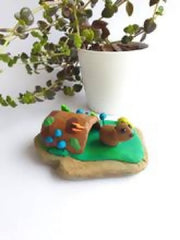 Miniature wombat sculpture collectable home decor