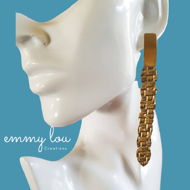 Gold 7 Leaf Faux Leather Earrings
