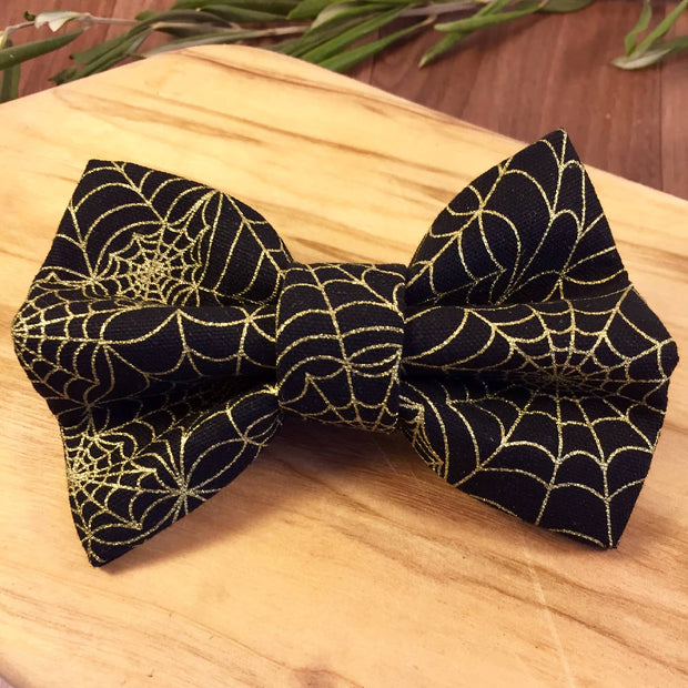 Pet Bow Tie Gold Cobwebs