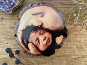 New Baby Photo Gift, Family Portrait Wood Slice, Photo Block, Unique Gifts, Photo Print on Wood, Unique Gifts, For Him, Grandparents Gift