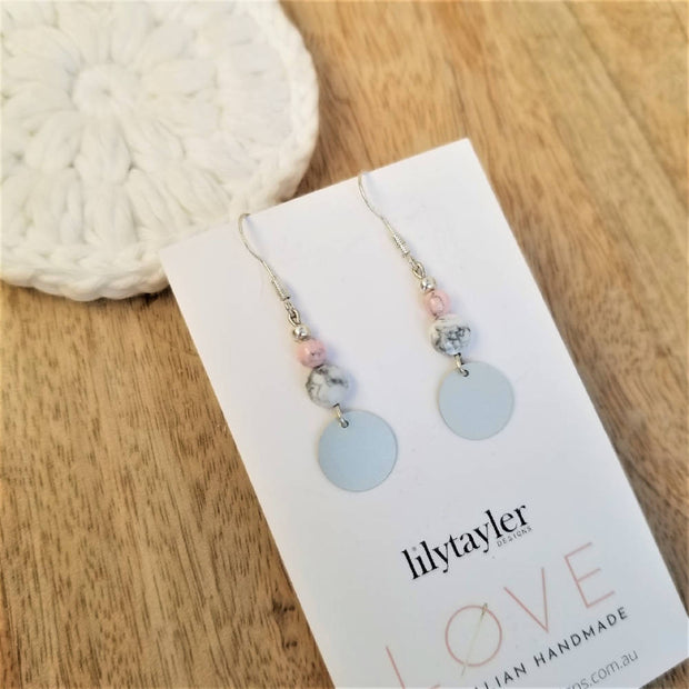 SALE! Mini Sequin Howlite Earrings