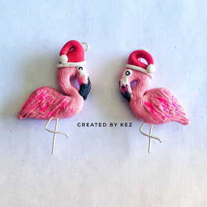Flamingo Christmas Earrings