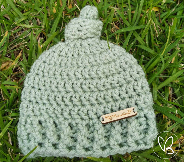 Newborn Top Knot Beanie and Ribbed Booties Set