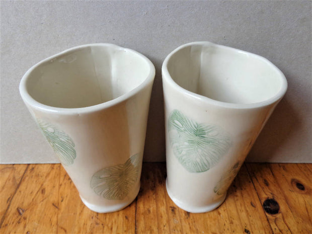 Monstera leaf stoneware tumblers, tropical ceramic handless cups handmade botanical green pottery drinking glasses 250ml 9 oz cup set of 2