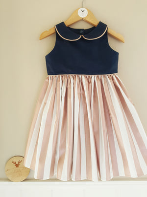 Navy and Rose Gold Tea Party Dress
