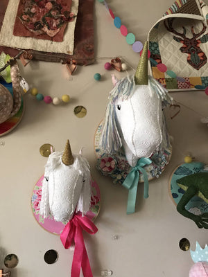 Large floral unicorn faux taxidermy